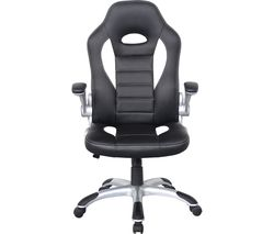 ALPHASON Talladega Faux-Leather Tilting Executive Chair - Black & White