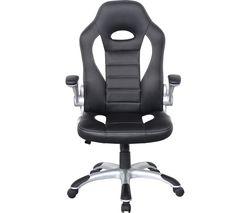 Talladega Faux-Leather Tilting Executive Chair - Black & White