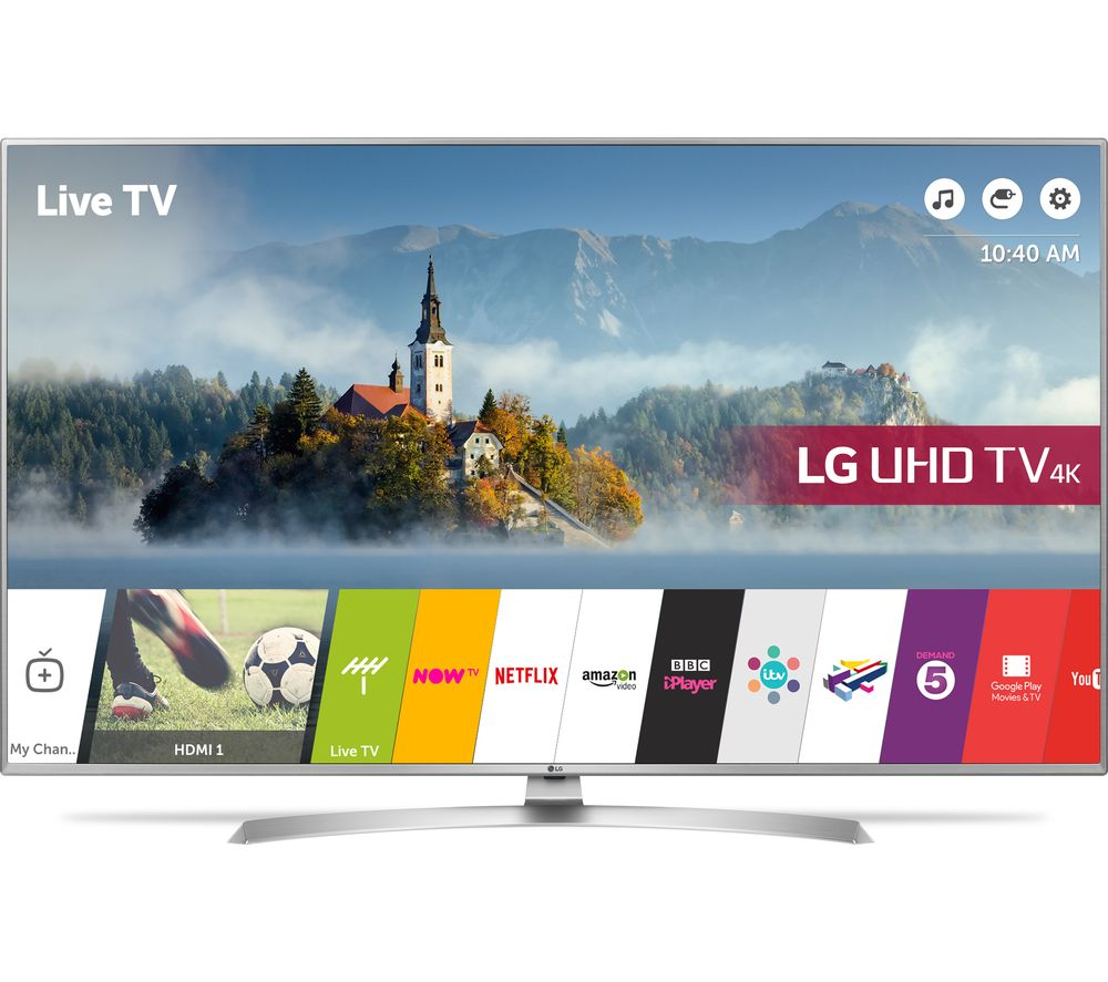 "LG 49UJ701V 49"" Smart 4K Ultra HD HDR LED TV + S1HDM315 HDMI Cable with Ethernet - 1 m"