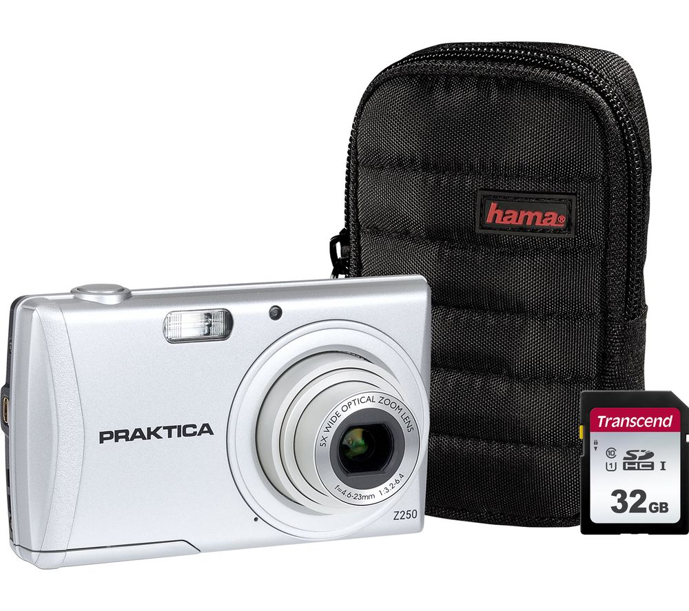 PRAKTICA Luxmedia Z250-S Compact Camera, Case & 32 GB Memory Card Bundle - Silver
