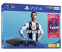 SONY PlayStation 4 with FIFA 19 & Dual Wireless Controllers - 500 GB