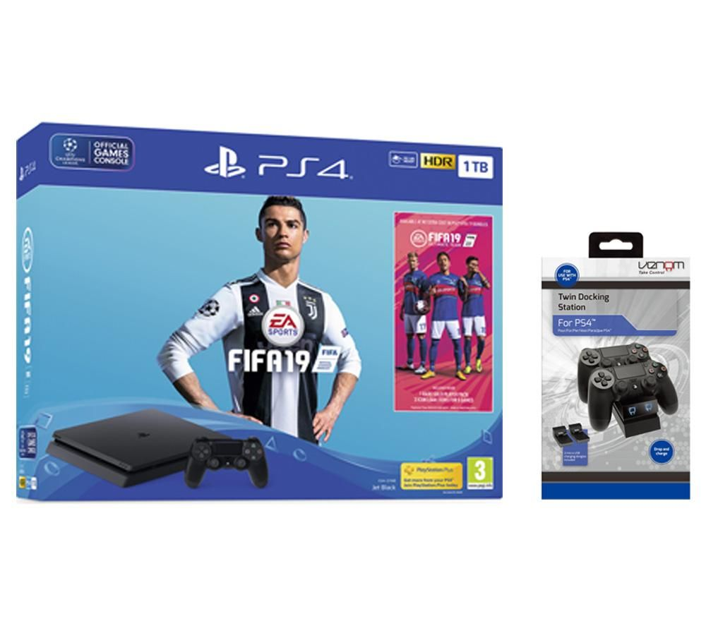 PlayStation 4, FIFA 19 & Twin Docking Station Bundle - 1 TB, Red