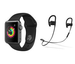 APPLE Watch Series 3 & Powerbeats3 Wireless Bluetooth Headphones Bundle - Space Grey & Black Sports Band, 38 mm