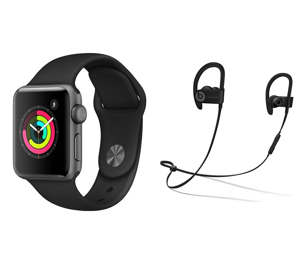 Buy Brand New APPLE Watch Series 3 & Powerbeats3 Wireless Bluetooth Headphones Bundle - Space Grey & Black Sports Band, 38 mm, Grey