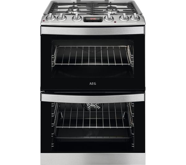 Image of AEG CKB6540ACM 60 cm Dual Fuel Cooker - Stainless Steel