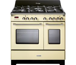 KENWOOD CK 425-CR-1 90 cm Dual Fuel Range Cooker - Cream & Stainless Steel Best Price, Cheapest Prices