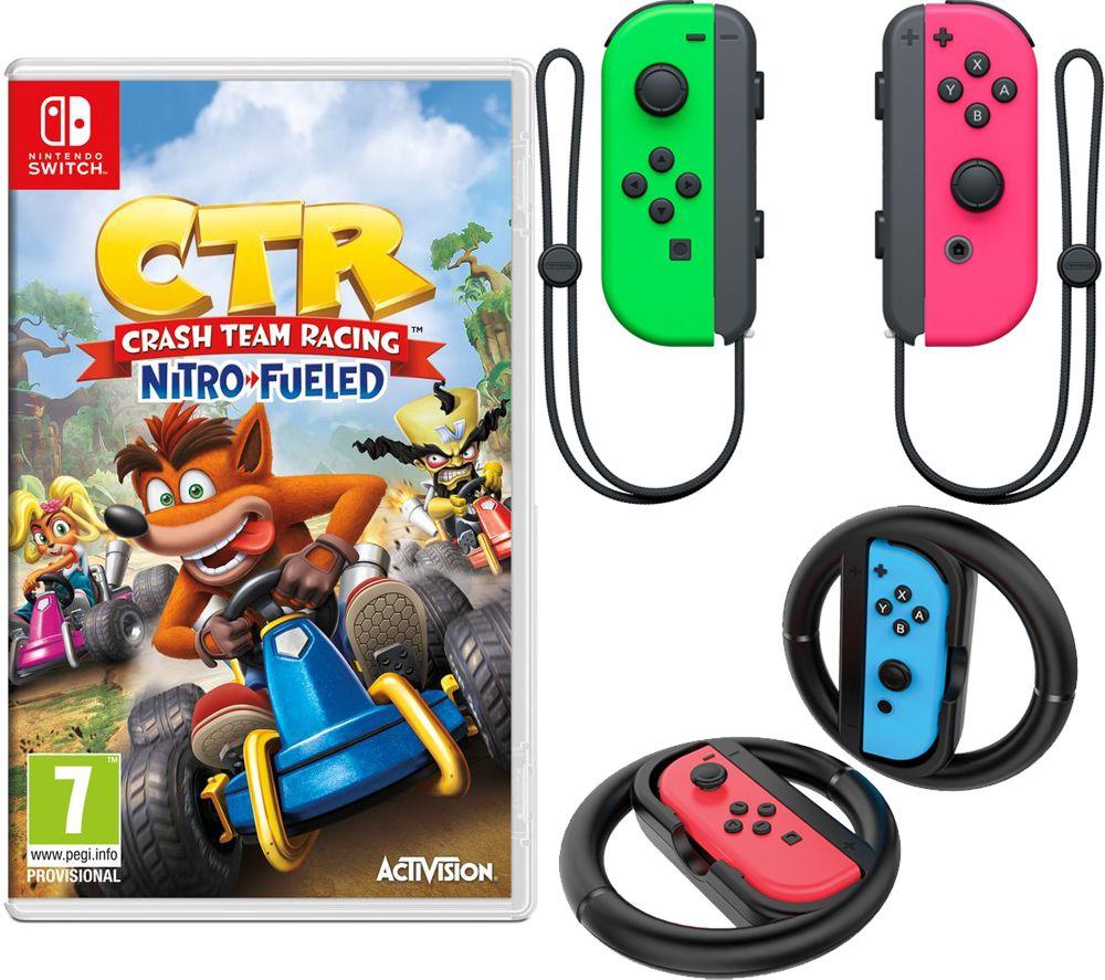 NINTENDO Switch Joy-Con Pink & Green Wireless Controllers, Joy-Con Racing Wheels & Crash Team Racing
