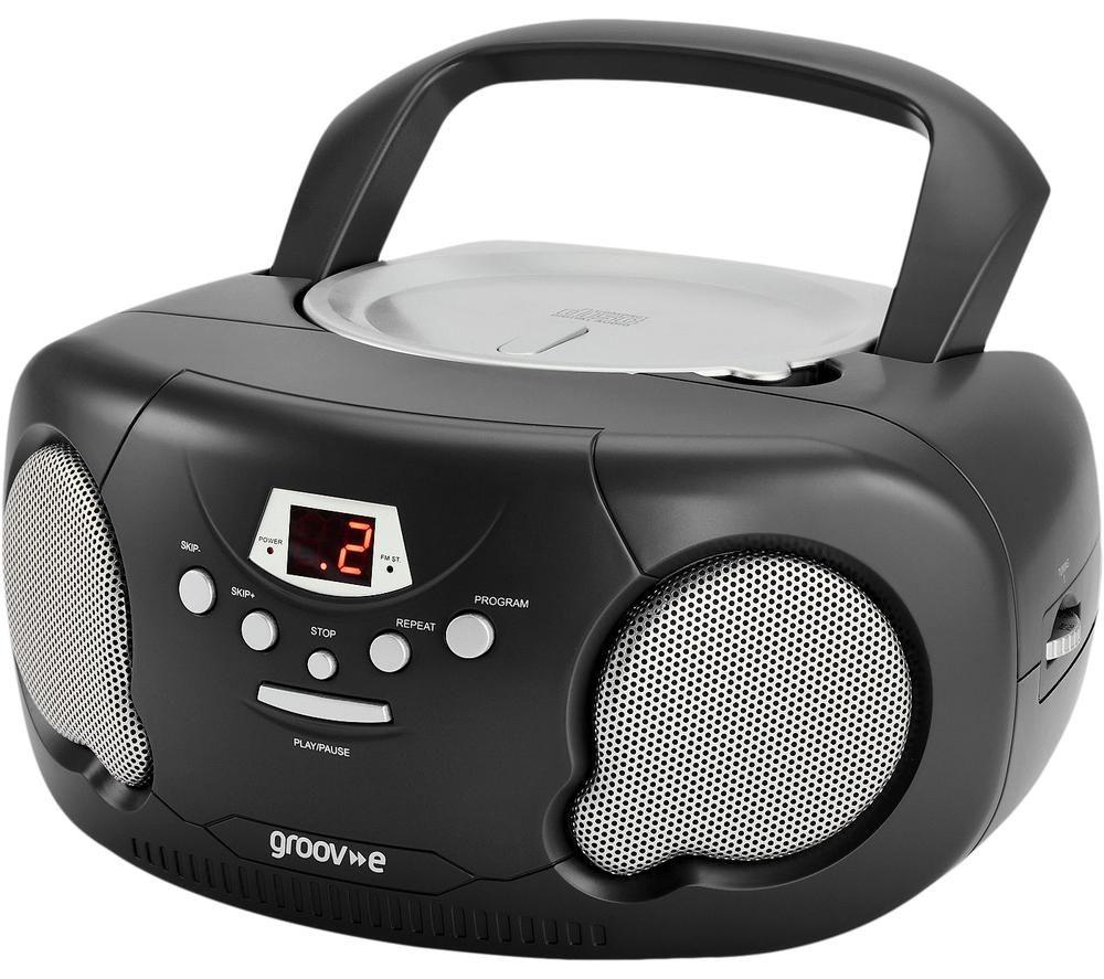 Image of GROOV-E Original Boombox GV-PS733 Portable FM/AM Boombox - Black, Black
