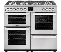 BELLING Cookcentre 100DFT Dual Fuel Range Cooker - Stainless Steel Best Price, Cheapest Prices