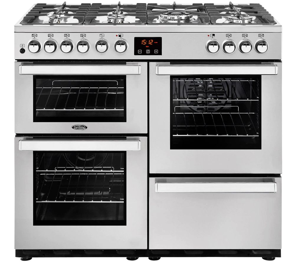 BELLING Cookcentre 100DFT Dual Fuel Range Cooker - Stainless Steel