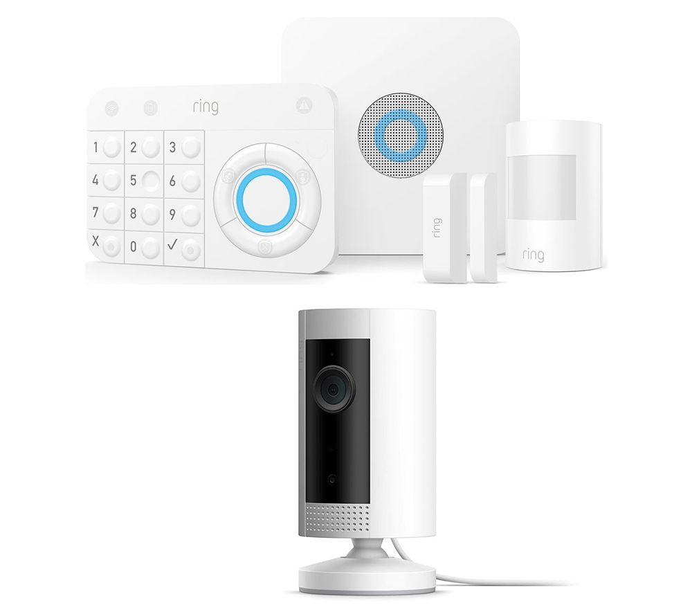 Image of RING Alarm 5 Piece Security Kit & Indoor Cam Bundle - White, White