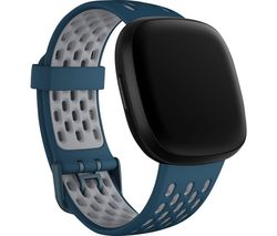 Sense & Versa 3 Sports Band - Sapphire & Grey, Large