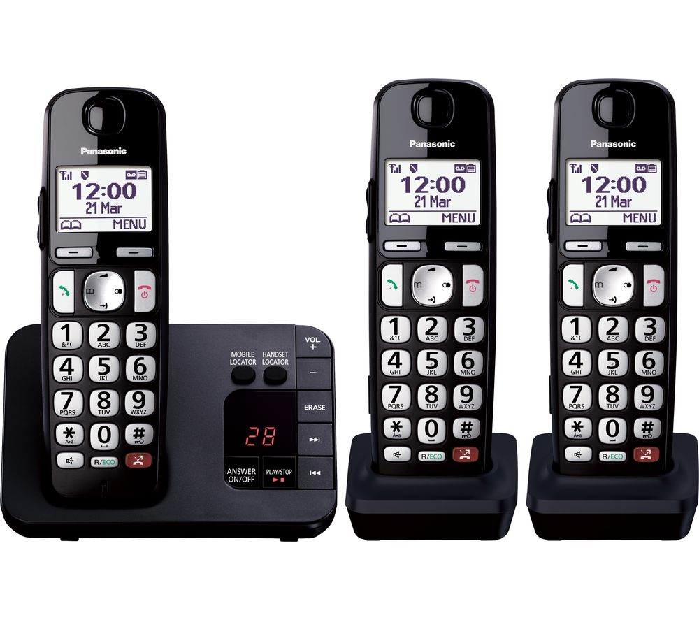 PANASONIC KX-TGE823EB Cordless Phone - Triple Handsets