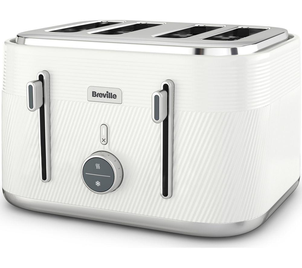 BREVILLE Obliq VTT974 4-Slice Toaster - White & Silver, White