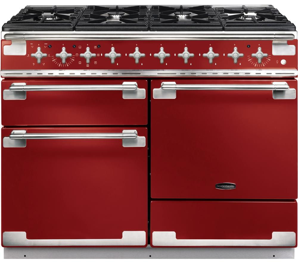 RANGEMASTER Elise 110 Dual Fuel Range Cooker - Cherry Red & Chrome