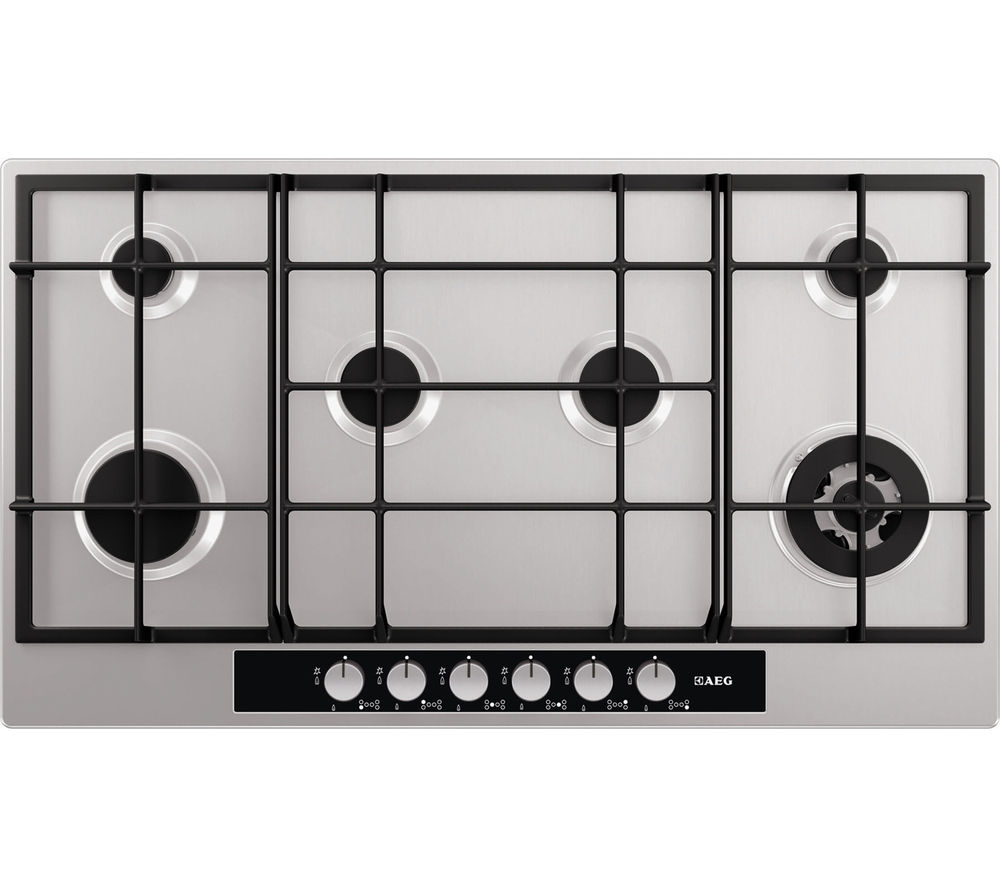 AEG HG956440SM Gas Hob ? Stainless Steel, Stainless Steel