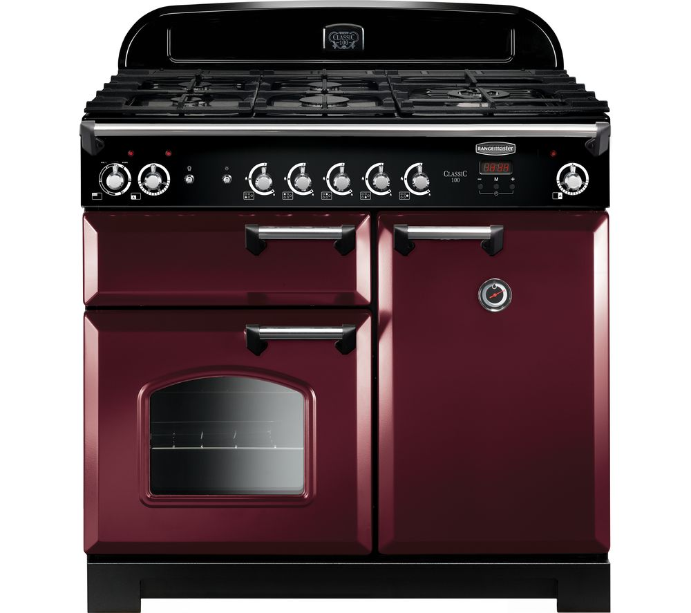 RANGEMASTER Classic CLA100DFFCY/C Dual Fuel Range Cooker - Cranberry & Chrome