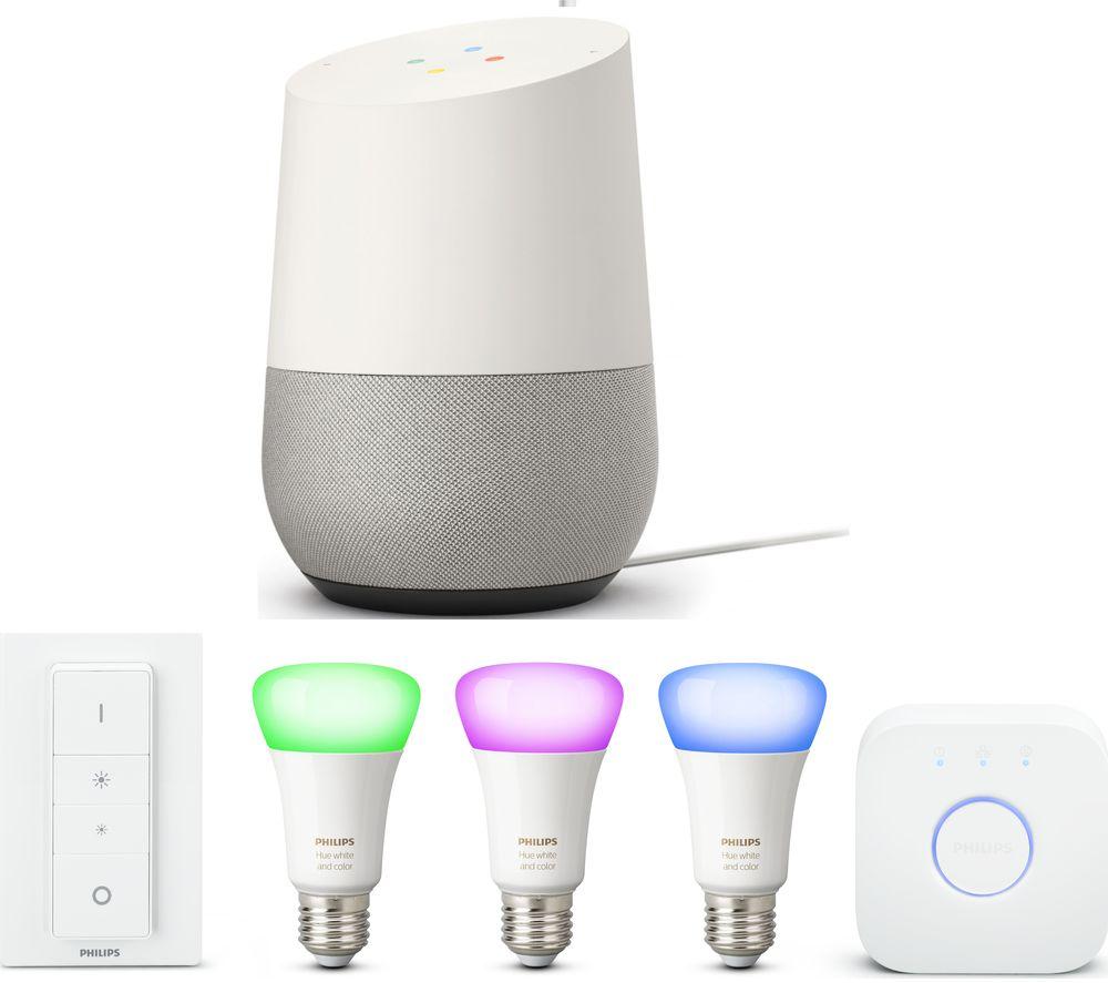 PHILIPS Hue White & Colour Ambience 27 Starter Kit & Google Home Bundle