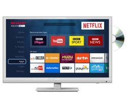 "SHARP LC-24DHG6001KW 24"" Smart LED TV with Built-in DVD Player - White"