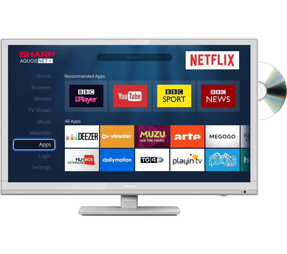 "Image of 24"" SHARP LC-24DHG6001KW Smart LED TV with Built-in DVD Player - White, White"