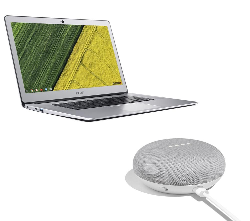 Image of GOOGLE CB515-1HT 15.6 Intel® Pentium Chromebook & Home Mini Bundle - Silver, Silver