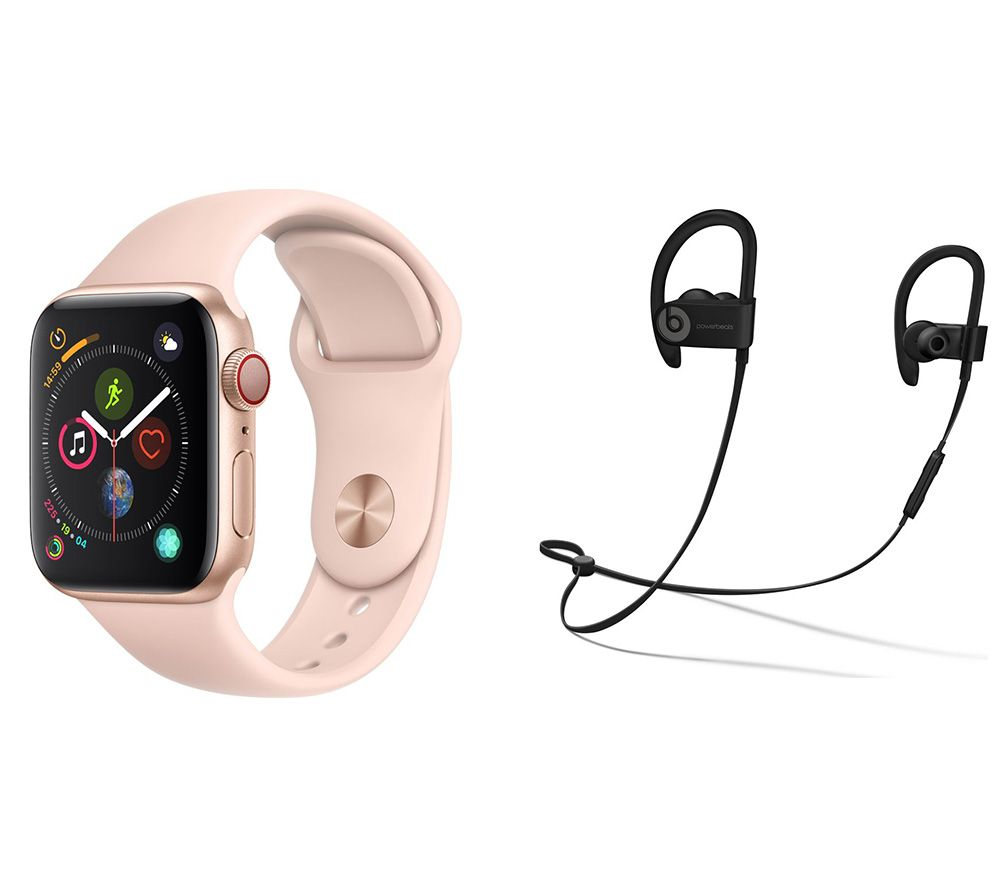APPLE Watch Series 4 Cellular & Powerbeats3 Wireless Bluetooth Headphones Bundle - Gold & Pink Sports Band, 40 mm, Gold cheapest retail price