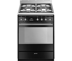 SMEG SUK61MBL9 60 cm Dual Fuel Cooker - Black & Stainless Steel Best Price, Cheapest Prices