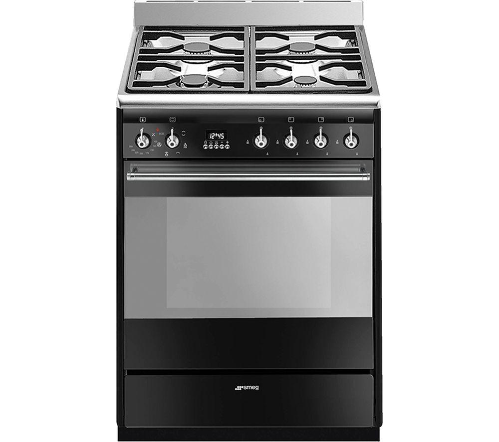 SMEG SUK61MBL9 60 cm Dual Fuel Cooker - Black & Stainless Steel