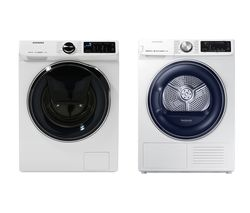 SAMSUNG DV80N62532W Smart 8 kg Heat Pump Tumble Dryer & WW80M645OPW Smart 8 kg 1400 Spin Washing Machine Bundle
