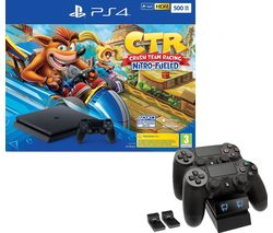 SONY PlayStation 4 with Crash Team Racing & Twin Docking Station Bundle - 500 GB
