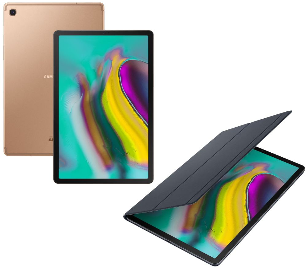 """Image of SAMSUNG Galaxy Tab S5e 10.5"""" Tablet & Book Cover Bundle - 128 GB, Gold, Gold"""