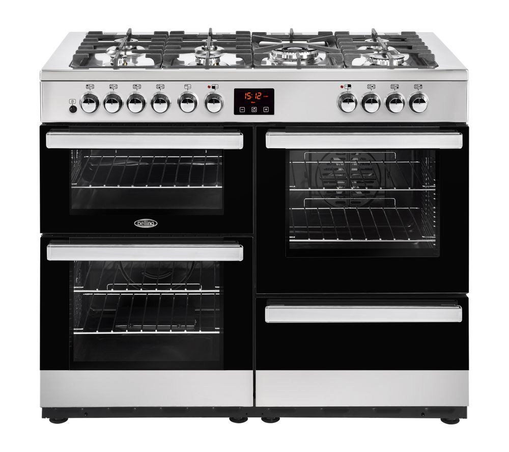 BELLING Cookcentre 110DF Dual Fuel Range Cooker - Black & Stainless Steel