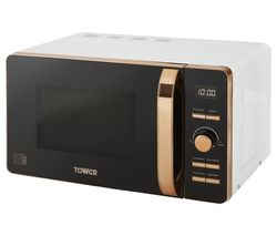 TOWER T24021W Solo Microwave - White & Rose Gold Best Price, Cheapest Prices