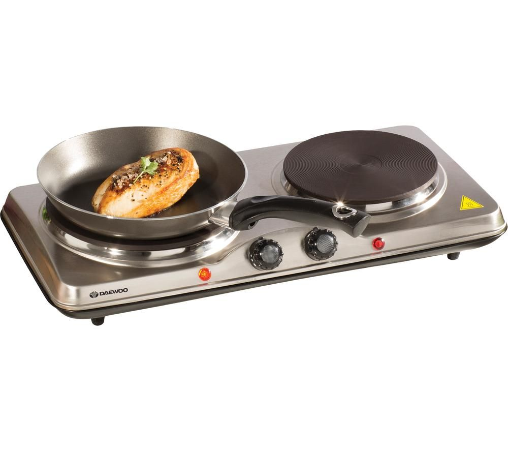 DAEWOO SDA1732 Double Electric Hot Plate - Silver