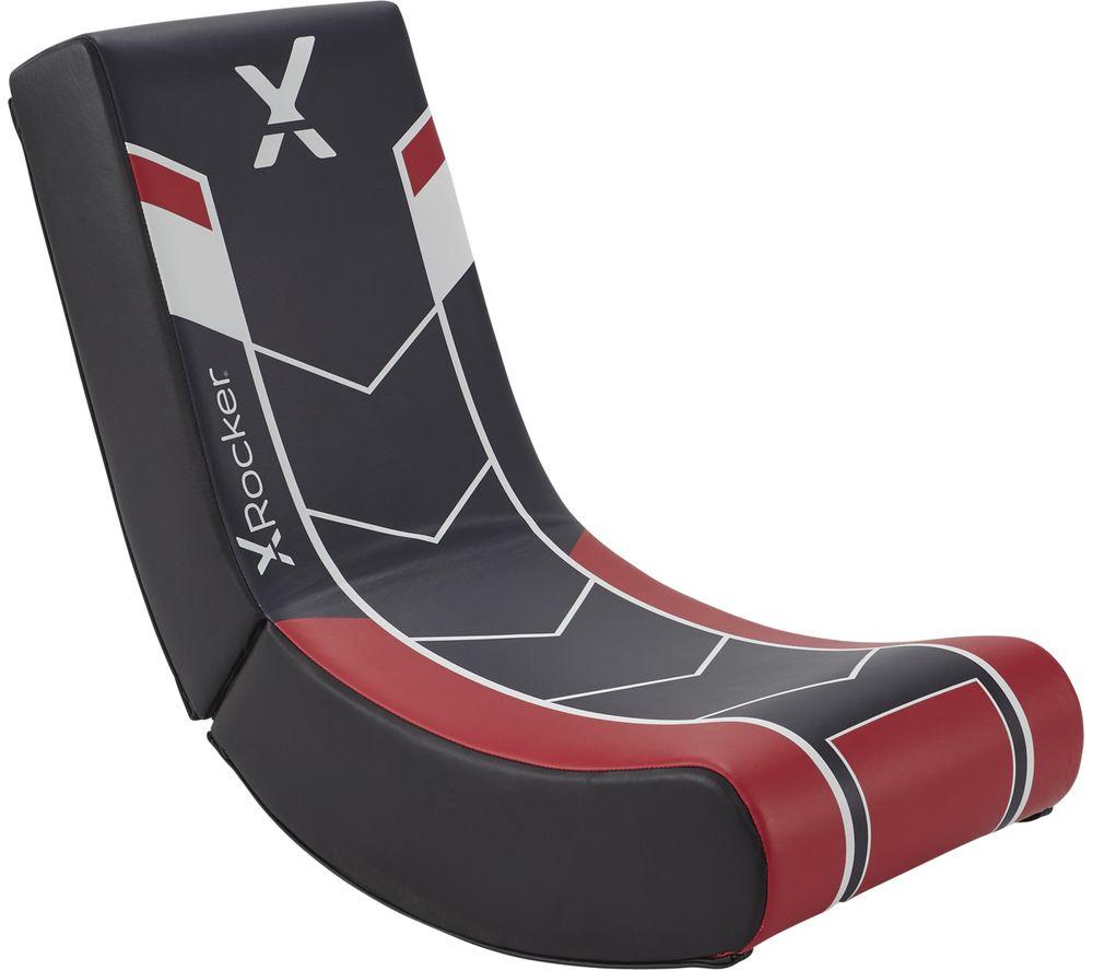 X ROCKER Video Floor Rocker Gaming Chair - Black & Red, Black