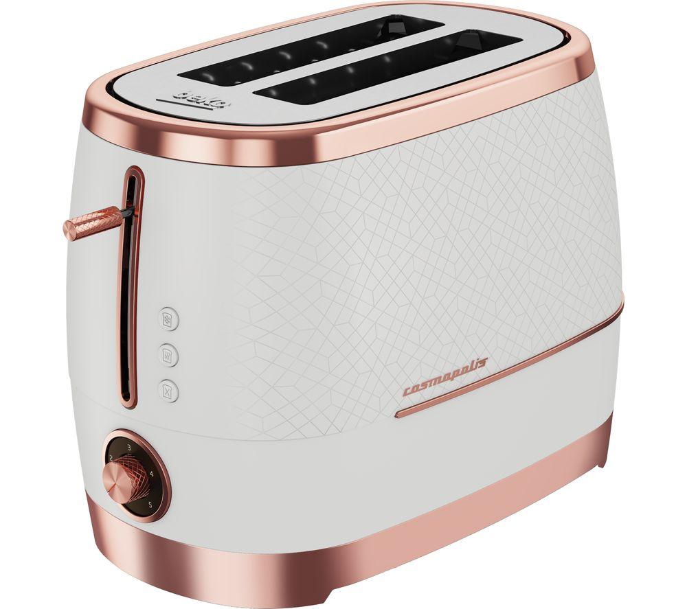 BEKO Cosmopolis TAM8202W 2-Slice Toaster - White & Rose Gold, White
