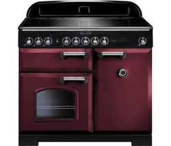 RANGEMASTER Classic Deluxe 100 Electric Induction Range Cooker - Cranberry & Chrome