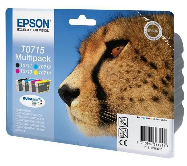 EPSON Cheetah T0715 Cyan, Magenta, Yellow & Black Ink Cartridges - Multipack