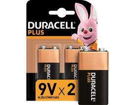 6LR61/MX1604 Plus Power Alkaline 9V Batteries - Pack of 2