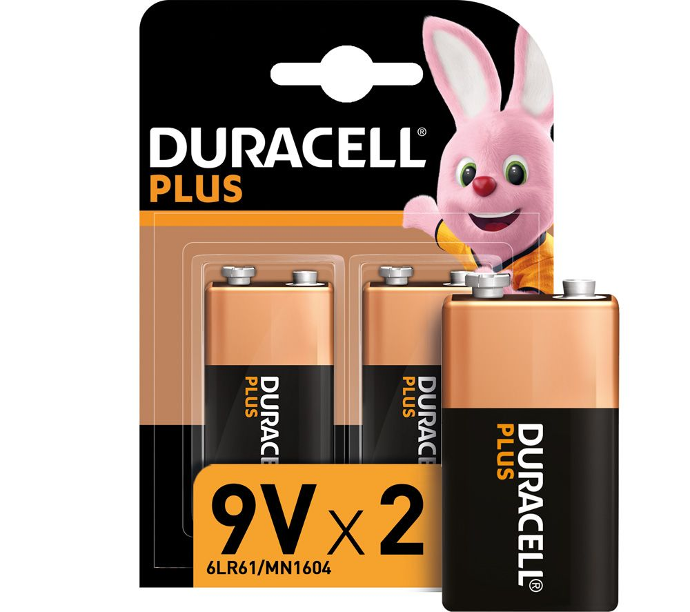 DURACELL 6LR61/MX1604 Plus Power Alkaline 9V Batteries - Pack of 2