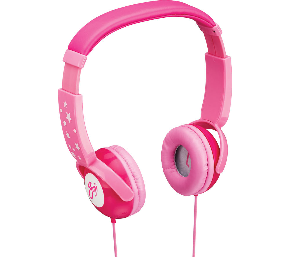 GOJI GKIDPNK15 Kids Headphones - Candy Pink + iPhone 7 Lightning to 3.5 mm Headphone Jack Adapter