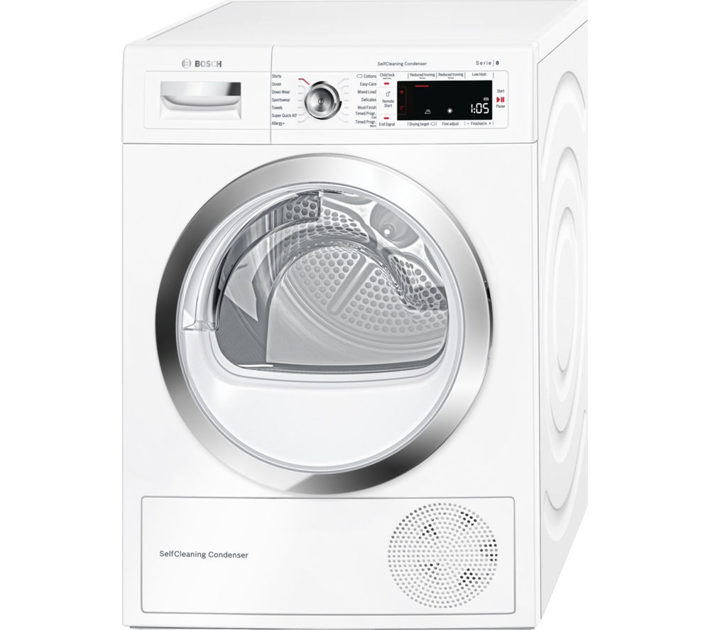 Image of BOSCH Serie 8 WTWH7560GB Heat Pump Smart Tumble Dryer - White, White