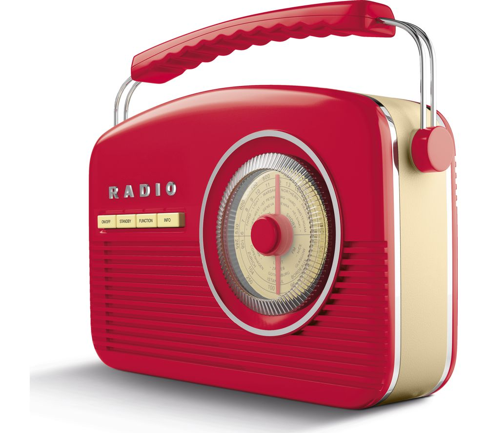 AKAI Portable DAB+/FM Retro Bluetooth Clock Radio - Red