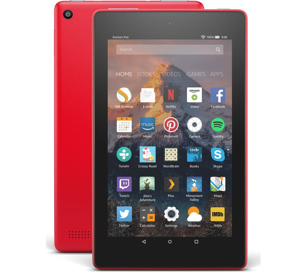 AMAZON Fire 7 Tablet with Alexa (2017) - 16 GB, Punch Red + Fire 7 Tablet Case - Black
