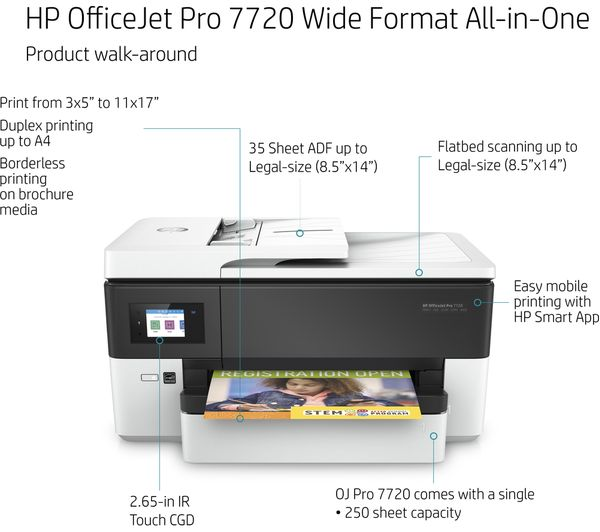 HP OfficeJet Pro 7720 All-in-One Wireless A3 Inkjet Printer with Fax