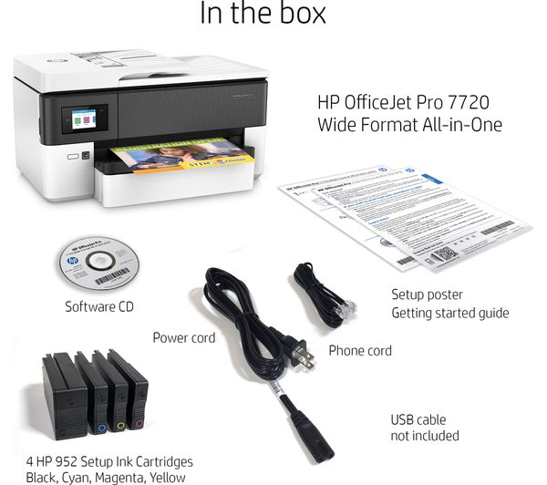Buy Hp Officejet Pro 7720 All In One Wireless A3 Inkjet Printer With
