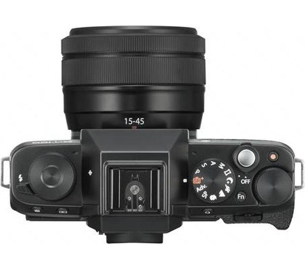 buy fujifilm x t100 mirrorless camera with fujinon xc 15 45 mm f 3 5 5 6 ois pz lens black. Black Bedroom Furniture Sets. Home Design Ideas