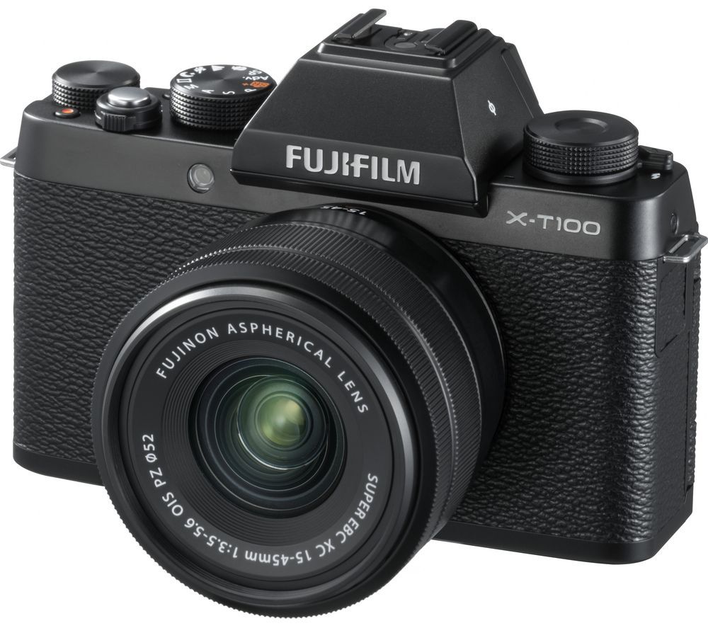 buy fujifilm x t100 mirrorless camera with fujinon xc 15. Black Bedroom Furniture Sets. Home Design Ideas