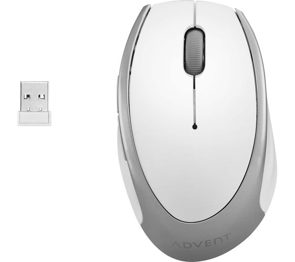 Image of ADVENT AMWLWH19 Wireless Optical Mouse - White & Silver
