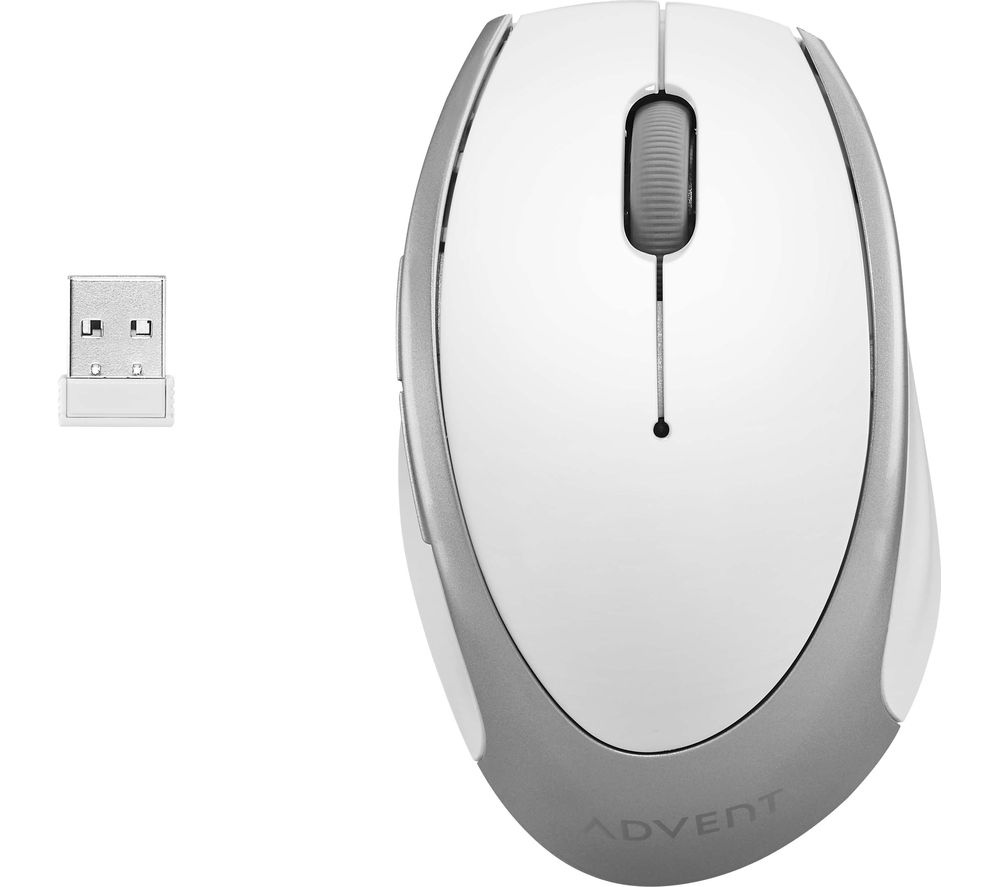 ADVENT AMWLWH19 Wireless Optical Mouse - White & Silver